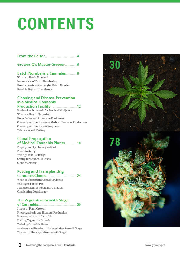 GrowerIQ cannabis cultivation sample pages